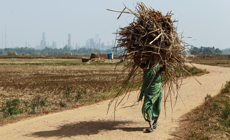 A woman Carries a bundle of dried grass along a road through which a proposed Railway will pass through Dhinkia, Odisha, India, on Sunday, Jan 19, 2014. POSCO may soon start Construction on a steel complex in the area. Foto: Prashanth Vishwanathan/Bloomberg via Getty Images